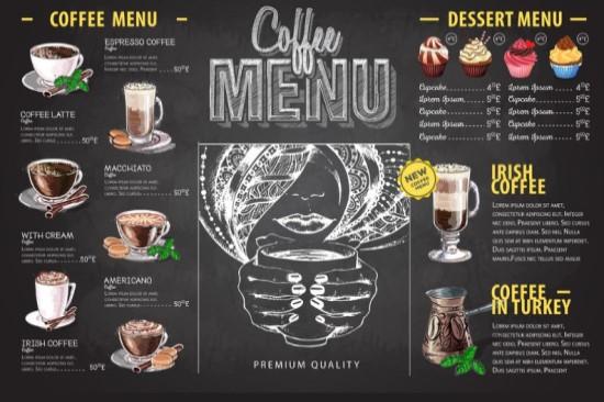 Kết quả hình ảnh cho menu quán cà phê