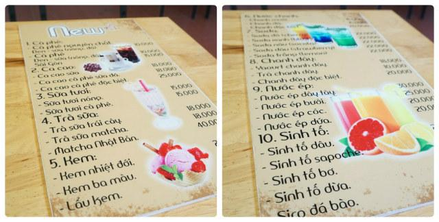 menu đa dạng của quán