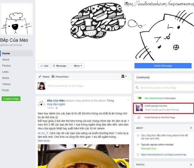 trang fanpage bếp của mèo